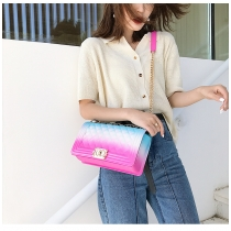 Lingge chain single shoulder diagonal gradient color rainbow Bag HLW3502748