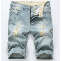 Denim shorts summer cotton hole light color jean TX006-3