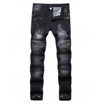 Black jeans stretch zip embroidery stretch pants TX008