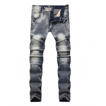 Mens jeans retro zipper stretch elastic straight slim denim trousers TX5032