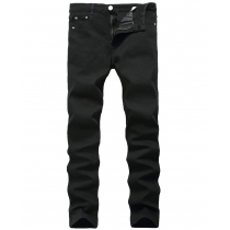 Slim feet elastic black pants Slim mens high elastic pure black denim pants TX818
