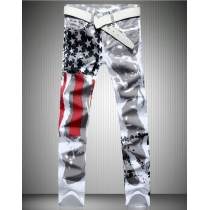 US flag printing jeans high stretch Slim casual five-pointed star red plus size plus size trousers TX8231