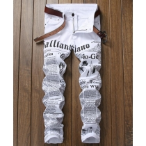 White printed jeans letters English printing stretch Slim casual mens trousers TX9002