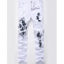 Printed tide jeans fashion casual Slim stretch white pants TXK35