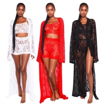 Lace 3 Pieces Outfits Strappy Tank Top Bodycon Shorts Long Coat QQM3846