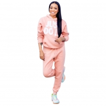 Casual Suits Letters Printing Hoodie Autumn Pink Pants LM037