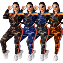 Hot Sale Female Outdoor 2 Pieces Camouflage Track Suits LA3135