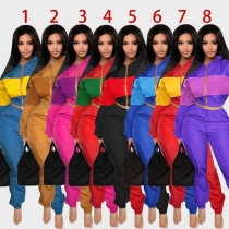 Hot Sale Autumn Colors Patchwork 2 Pieces Female Track Suits YY6031