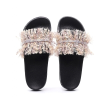 Fringed bright diamond craft, versatile wear-resistant slippers QF664