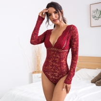 Lace openwork perspective deep V one-piece dress female P4325D