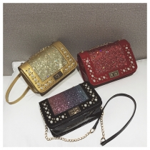 Chic bag fashion pearl turn lock sequin small square bag chain ladies shoulder Messenger bag Z568564496836