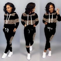 Hot Sell Leopard Print Patchwork Plus Size Sport Outfits LD8626