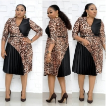 Leopard stitching pleated commuter large size dress AM389