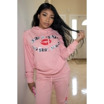 Fashion Printed Long Sleeves Pink Pocket Hoddies Sets L0288