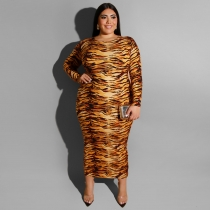 Tiger Pattern Prined Long Sleeves Plus Size Midi Dress Q5066