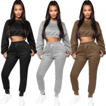 Crop Top Bodycon Pants Thicken Plain Color Leisure Outfits YMT6113