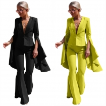 Oversize Solid Color Irregular Outfits V Collar Suit Flare Pants LS8021