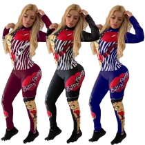 Cartoon Printing Latest Women Outfits Zip Up Top Skinny Pants MN8073