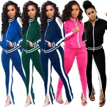 Autumn Winter Ladies 5 Colors Leisurewear Sport Zipper Outfits X9206