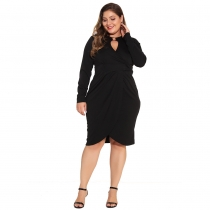 Plus Size Women Irregular Black Pleated Knee Length Dress ZZ8828