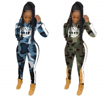 Hiking Female Plus Size 2 Pieces Camouflage Hooded Outfits MTY6221