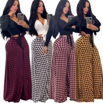 Stylish Bottoms 4 Colors Plaid Wide Leg Pants For Daily Wear MD285