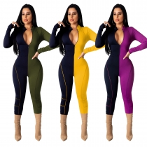 New Style Zip Up Contrast Color Women Skinny Jumpsuit TRS995