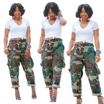 Sexy wild loose camouflage overalls sports casual multi-pocket stretch straight pants HSF2109