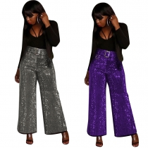 New Design Shiny Belted Casual Wide Leg Pants Club Solid Bottoms F8252