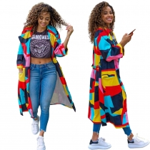 Female Long Sleeves Pockets Multicolored Casual Belted Cardigan Coat BLX7357