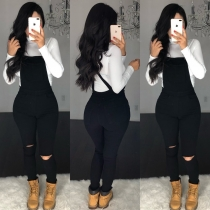 Black Casual Ladies Bodycon Hollow Out Strappy Jean Pants BS1159