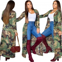 Camouflage Loose Cardigan Outerwear Long Sleeve Lady Coat SN3735