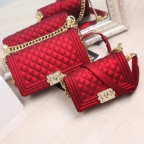 Chain Women Frosted Matte Jelly Bag Diamond Pattern Solid Bag SL2612