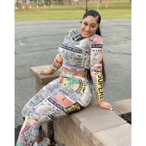 Fashion casual newspaper 3D printed long sleeve two-piece suit H9651