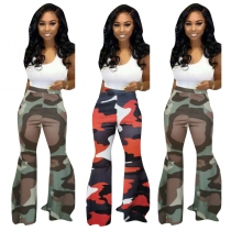 Women's Camouflage Print Bottom Casual Winter Flared Pants TK6042