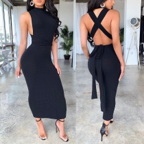 Sexy Women Solid Color Backless One-Step Dress SH7128
