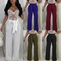 Sexy straps with belt wide leg pants 5 colors VN1001