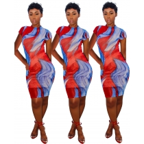 Cheap Short Sleeve Slim Bodycon Printing Dress For Sale HY5037