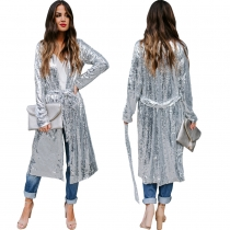 Stylish Casual Cardigan Silver Sequined Long Coat With Belt TRS1000