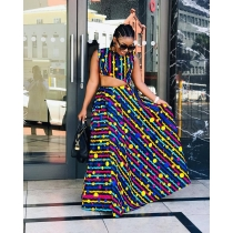 Female Popular Printing Suits Sleeveless Top Long Skirt DMM8040