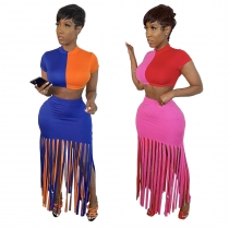Short Sleeved Color Block Crop Top Tassel Wrap Skirt Slim Suits LYY9229