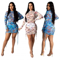 Stylish Pleated Mesh Printed Club Bodycon Perspective Dress MY9606