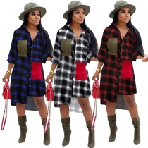 New Design Irregular Button Down Plaid Shirt Casual Dress OMM1099