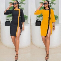 Leisure Color Splicing Slim Bodycon O Neck Split Dress LSN727