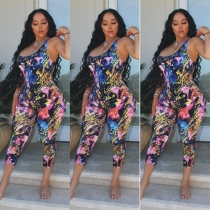 Hot Sell Printing Slim Fitting Mid Waist Sleeveless Jumpsuit LSN729