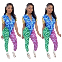 Slim Bodycon Women Camouflage Patchwork Casual Outfits MY9599