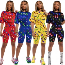 Street Style Women Butterfly Print Short Sleeved Track Suits QQM3977