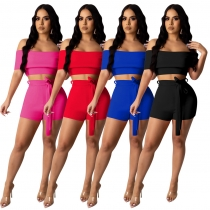 Solid Color Women Outfits Off Shoulder Top Belted Shorts QQM3981
