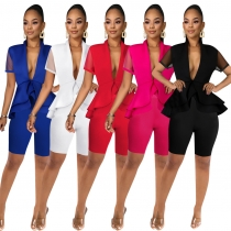 Office Ladies Solid Outfits V Collar Ruffle Top Bodycon Shorts QQM3987