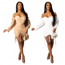 White/Apricot Sexy Off Shoulder Holidays Pleated Mini Dress CCY8326